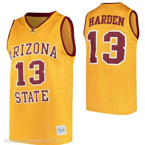 James Harden Arizona State Sun Devils #13 Authentic College Basketball Mens Gold Jersey