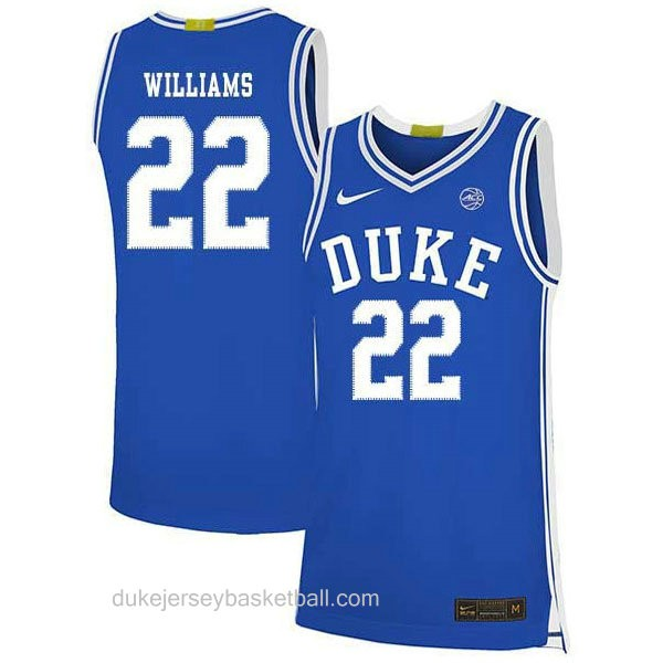 Mens Jay Williams Duke Blue Devils #22 Authentic Blue Colleage Basketball Jersey