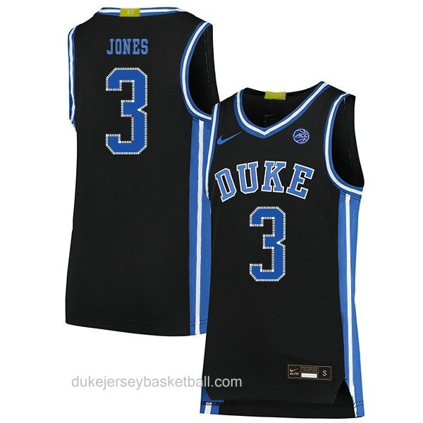 Mens Tre Jones Duke Blue Devils #3 Swingman Black Colleage Basketball Jersey