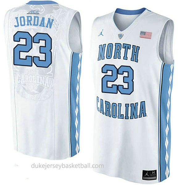 Michael Jordan North Carolina Tar Heels #23 Authentic College Basketball Mens Unc Jersey White