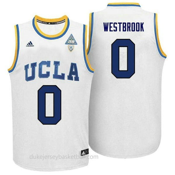 Russell Westbrook Ucla Bruins 0 Authentic Adidas College Basketball Womens White Jersey