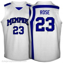 Derrick Rose Memphis Tigers #23 Authentic College Basketball Womens White Jersey