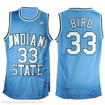 Larry Bird Indiana State Sycamores #33 Authentic College Basketball Youth Blue Jersey