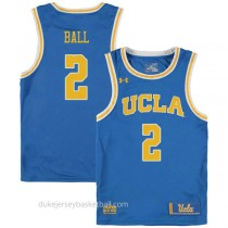 Lonzo Ball Ucla Bruins #2 Authentic College Basketball Youth Blue Jersey