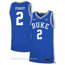 Mens Cassius Stanley Duke Blue Devils #2 Authentic Blue Colleage Basketball Jersey