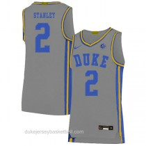 Mens Cassius Stanley Duke Blue Devils #2 Authentic Grey Colleage Basketball Jersey