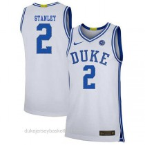 Mens Cassius Stanley Duke Blue Devils #2 Authentic White Colleage Basketball Jersey