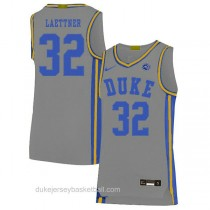 Mens Christian Laettner Duke Blue Devils #32 Authentic Grey Colleage Basketball Jersey