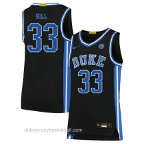 Mens Grant Hill Duke Blue Devils #33 Authentic Black Colleage Basketball Jersey