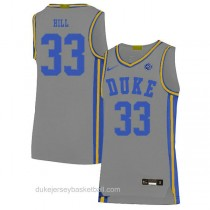 Mens Grant Hill Duke Blue Devils #33 Authentic Grey Colleage Basketball Jersey