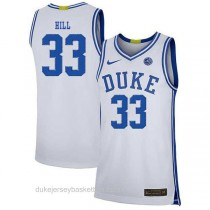 Mens Grant Hill Duke Blue Devils #33 Authentic White Colleage Basketball Jersey