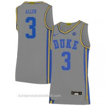 Mens Grayson Allen Duke Blue Devils #3 Authentic Grey Colleage Basketball Jersey