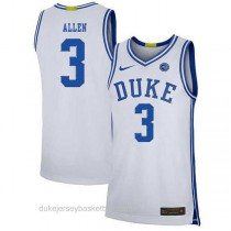 Mens Grayson Allen Duke Blue Devils #3 Authentic White Colleage Basketball Jersey