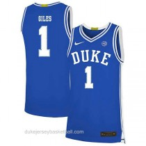 Mens Harry Giles Iii Duke Blue Devils #1 Authentic Blue Colleage Basketball Jersey