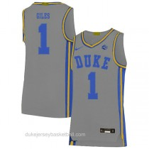 Mens Harry Giles Iii Duke Blue Devils #1 Authentic Grey Colleage Basketball Jersey
