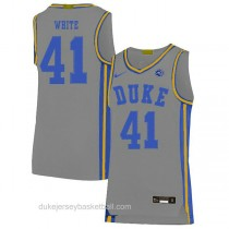 Mens Jack White Duke Blue Devils #41 Authentic Grey Colleage Basketball Jersey