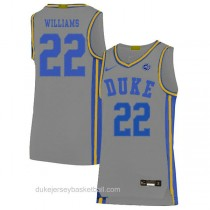 Mens Jay Williams Duke Blue Devils #22 Authentic Grey Colleage Basketball Jersey