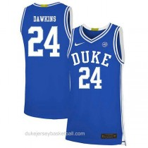 Mens Johnny Dawkins Duke Blue Devils #24 Authentic Blue Colleage Basketball Jersey