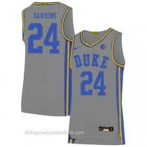 Mens Johnny Dawkins Duke Blue Devils #24 Authentic Grey Colleage Basketball Jersey