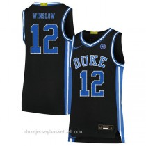 Mens Justise Winslow Duke Blue Devils #12 Authentic Black Colleage Basketball Jersey