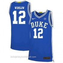 Mens Justise Winslow Duke Blue Devils #12 Authentic Blue Colleage Basketball Jersey