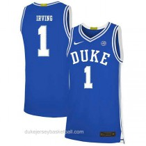 Mens Kyrie Irving Duke Blue Devils #1 Authentic Blue Colleage Basketball Jersey