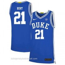 Mens Matthew Hurt Duke Blue Devils #21 Authentic Blue Colleage Basketball Jersey