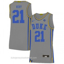 Mens Matthew Hurt Duke Blue Devils #21 Authentic Grey Colleage Basketball Jersey