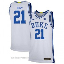 Mens Matthew Hurt Duke Blue Devils #21 Authentic White Colleage Basketball Jersey
