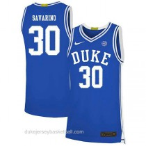 Mens Michael Savarino Duke Blue Devils #30 Authentic Blue Colleage Basketball Jersey