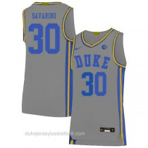 Mens Michael Savarino Duke Blue Devils #30 Authentic Grey Colleage Basketball Jersey