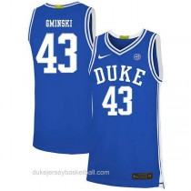Mens Mike Gminski Duke Blue Devils #43 Authentic Blue Colleage Basketball Jersey