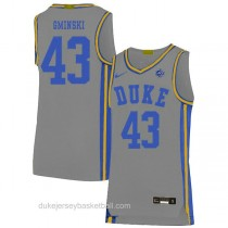Mens Mike Gminski Duke Blue Devils #43 Authentic Grey Colleage Basketball Jersey