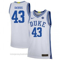 Mens Mike Gminski Duke Blue Devils #43 Limited White Colleage Basketball Jersey