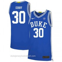 Mens Seth Curry Duke Blue Devils #30 Authentic Blue Colleage Basketball Jersey