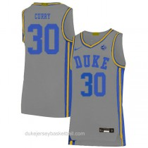 Mens Seth Curry Duke Blue Devils #30 Authentic Grey Colleage Basketball Jersey