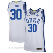 Mens Seth Curry Duke Blue Devils #30 Authentic White Colleage Basketball Jersey
