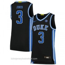Mens Tre Jones Duke Blue Devils #3 Authentic Black Colleage Basketball Jersey