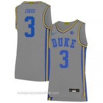 Mens Tre Jones Duke Blue Devils #3 Authentic Grey Colleage Basketball Jersey