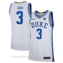 Mens Tre Jones Duke Blue Devils #3 Authentic White Colleage Basketball Jersey