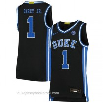 Mens Vernon Carey Jr Duke Blue Devils #1 Authentic Black Colleage Basketball Jersey