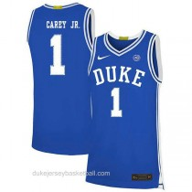 Mens Vernon Carey Jr Duke Blue Devils #1 Authentic Blue Colleage Basketball Jersey