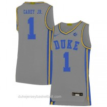 Mens Vernon Carey Jr Duke Blue Devils #1 Authentic Grey Colleage Basketball Jersey