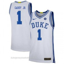 Mens Vernon Carey Jr Duke Blue Devils #1 Authentic White Colleage Basketball Jersey