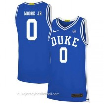 Mens Wendell Moore Jr Duke Blue Devils 0 Authentic Blue Colleage Basketball Jersey