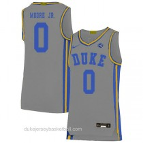 Mens Wendell Moore Jr Duke Blue Devils 0 Authentic Grey Colleage Basketball Jersey