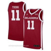 Trae Young Oklahoma Sooners #11 Authentic College Basketball Womens Red Jersey
