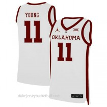 Trae Young Oklahoma Sooners #11 Authentic College Basketball Womens White Jersey