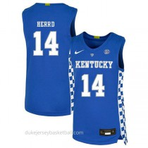 Tyler Herro Kentucky Wildcats #14 Authentic College Basketball Youth Blue Jersey