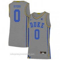 Womens Austin Rivers Duke Blue Devils 0 Authentic Grey Colleage Basketball Jersey